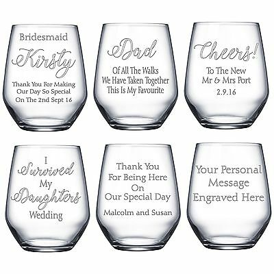 Engraved Stemless Wine Glass Wedding Bridesmaid Dad Mum Usher Personalised Gift