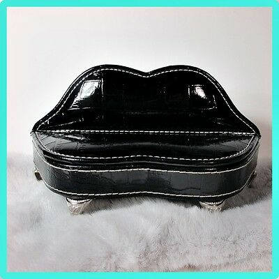 Doll Sofa Couch Jewelry Box-BlackLips FauxLeather-Miniature Dollhouse Furniture