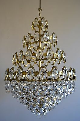 Vintage Antique French Basket Style Brass& Crystals Chandelier