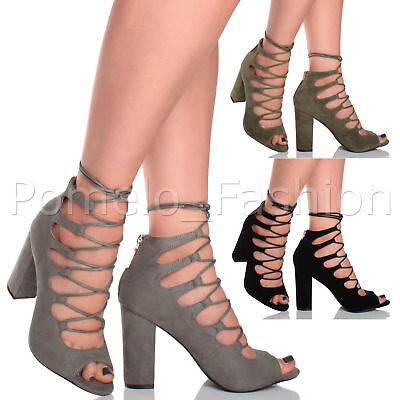 Womens Ladies High Heel Lace Up Peeptoe Evening Sandals Shoes Boots Booties Size
