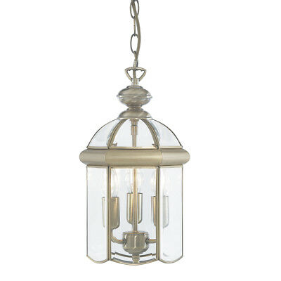 Searchlight 7133AB Antique Brass 3 Light Domed Lantern Bevelled Glass Shade