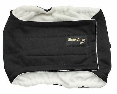 Waterproof Black Dog Belly Band Nappy / Urine Marking / Incontinence -Glenndarcy