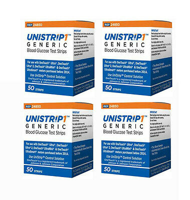 UniStrip 200 Test Strips for use with OneTouch Ultra II,Mini, Smart Meter - 9/18