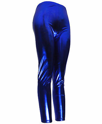 Royal Blue Footless Metallic Leggings Shiny Retro Disco Pants