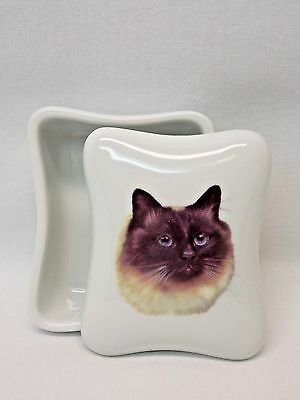 Ragdoll/Himalayan Cat Dresser or Trinket Box Porcelain Fired Head Decal on Top
