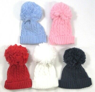 Baby Babies Boys Girls Bobble Hat Pink Blue White Knitted Winter 0-24 Months