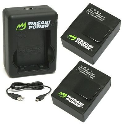 Wasabi Power Battery (2-Pack) & Dual USB Charger for GoPro HERO3, HERO3+