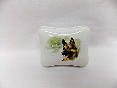 German Shepherd Dog Dresser or Trinket Box Porcelain Fired Head Decal on Top Lid
