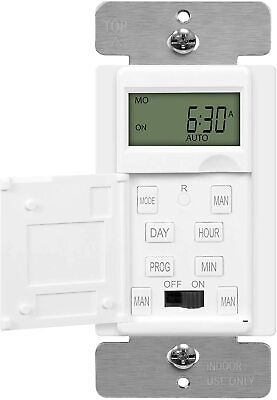 In-Wall 7-Day Digital Programmable Timer Switch for Fans, Lights, Motors White