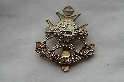 WW2 British Notts & Derby Sherwood Foresters Regiment Cap Badge