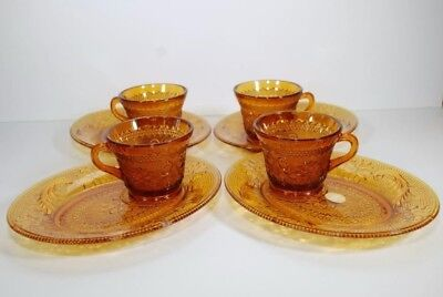 Vintage Indiana Tiara Exclusive Amber Snack Set For 4-8 Piece Set In Box