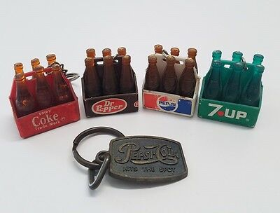 Vintage lot of 5 Soda Keychains Coca Cola Coke 7 UP Dr Pepper Pepsi Key Ring