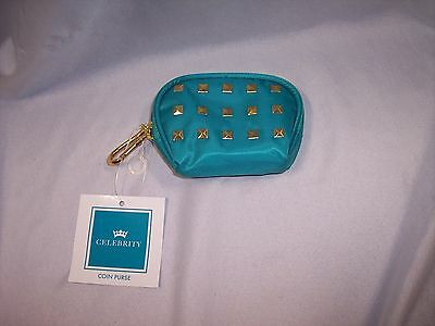 Celebrity Zipered Coin Purse,  Turquoise