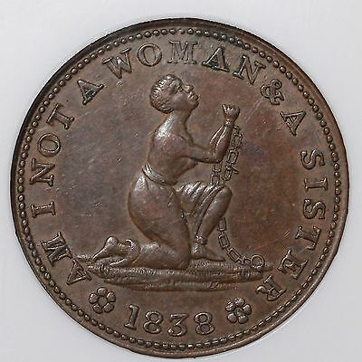 "1838 Low 54/HT-81 ""Am I Not A Woman"" NGC AU 58 BN Hard Times Token"