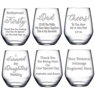 Engraved Stemless Wine Glass Bridesmaid Mother of the Bride Groom Wedding Gift