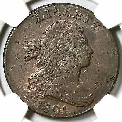 """1801 S-220 R-3 NGC XF40 """"1/000"""" Draped Bust Large Cent Coin 1c"""