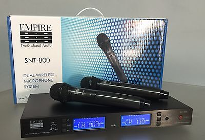 Empire Professional Audio Dual Wireless Hand Held Microphone Set. Black. UHF.