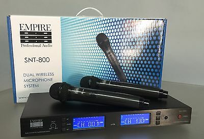 Empire. Dual Wireless Hand Held Microphone Set. Vocalist Performer. Live Stage.