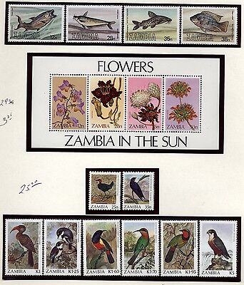 Zambia Topical collection Birds,Apes, Butterflies,FISH  Mint Never hinged