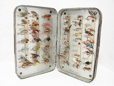 Vintage Rare Wheatley Brown Japanned 51 x Clip Pocket Fly Box & 51 x Trout Flies