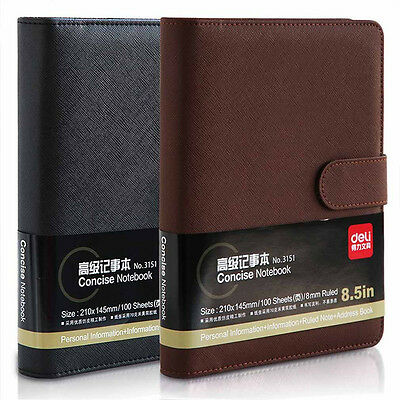 A5 Loose Leaf Notebook Diary Business Concise Ruled Note Book Leather Memo Pad