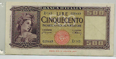 Italy 1948 500 Lire Pick 80 a  Collector Banknote