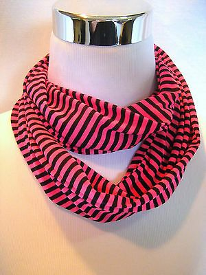 SMALL Hot Pink and Black stripe Infinity Scarf Baby Toddler Kid PHOTO PROP