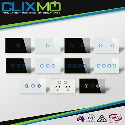 CLIXMO 1,2,3,4 GANG GPO Touch Switch Dimmable Light Switch Glass Panel Blue LED