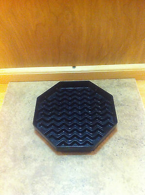"Carlisle 1103603 NeWave Octagon Drip Tray 6"" Black (1) For H20 Pitchers on Linen"