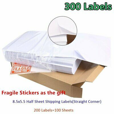 300 Half Sheet 8.5x5.5 Shipping Labels Self Adhesive For Laser USPS Paypal FedEx