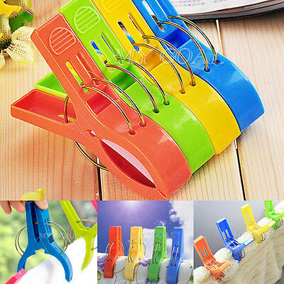 5X Towel Clips Beach Laundry Wash Line Hanging Plastic Pegs Clothes Pins Home UK