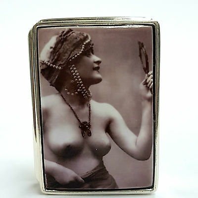 Large Sterling Silver Hallmarked 1920's Enamel Nude Lady with mirror Pill Box