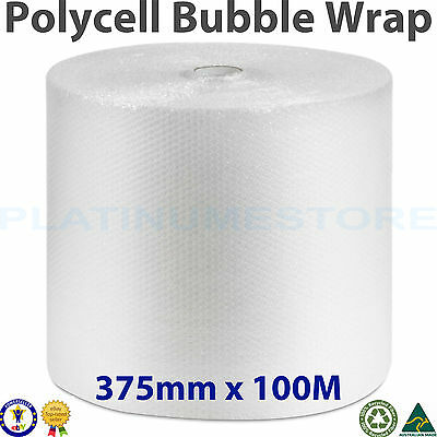 375mm x 100M Bubble Wrap Roll POLYCELL Bubblewrap Clear 10mm Bubbles Free Post