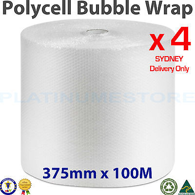 4x 375mm x 100M Bubble Cushioning Wrap Roll Clear 10mm Bubbles SYDNEY METRO