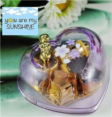 Purple Heart Shape Gold Wind Up Movement Music Box :  YOU ARE MY SUNSHINE
