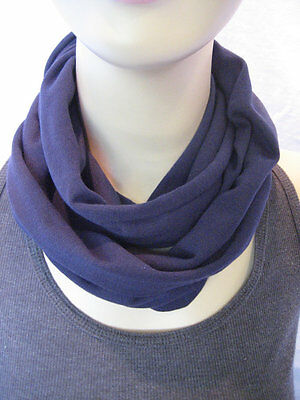 Baby TODDLER Childs solid Navy Blue cotton jersey knit Infinity Scarf PHOTO PROP