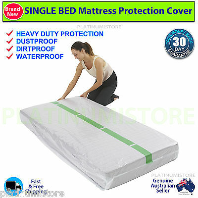 2 Single Size Bed Mattress Protect Plastic Cover Moving & Storage Bag