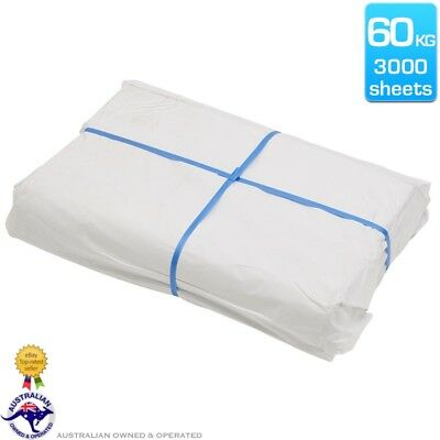 60kg Wrapping Packing Paper 600 x 810mm White Butchers 3000 Sheets FREE Post
