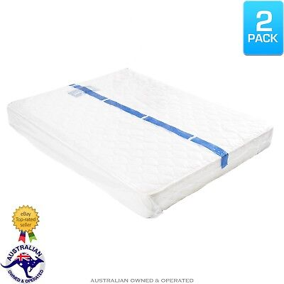2 x Queen/Double Bed Plastic Mattress Protector Moving & Storage Bag Dust Cover