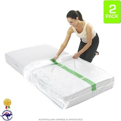 2 x Single Bed Plastic Mattress Protector Covers Moving & Storage Bag Dust Cover