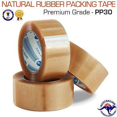 12 x Rolls Premium Quality Natural Rubber Adhesive Packing Tape 48mm x 75M Clear