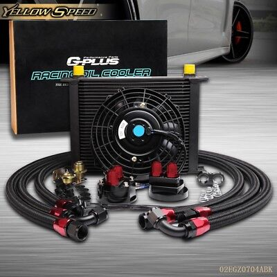 """30 Row -10an An10 Engine Transmission Oil Cooler + 7"""" Electric Fan Kit Black"""