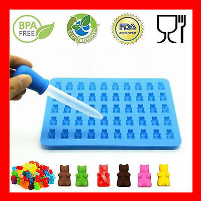 50 Gummy Bears Cavity Silicone Chocolate Jelly Ice Mold Tray Candy