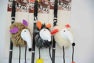 Cat/Kitten Play Pole Mouse Toy Gray/Brown/White!
