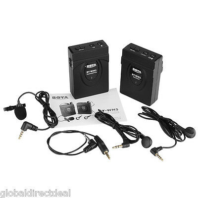 BOYA BY-WM5 Wireless 2.4GHZ Lavalier Microphone System For Camcorder Camera DSLR