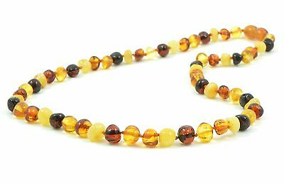 Baltic Amber Adult Necklace, Knotted, MultiColor, 45 cm Regular Retail Price 69$