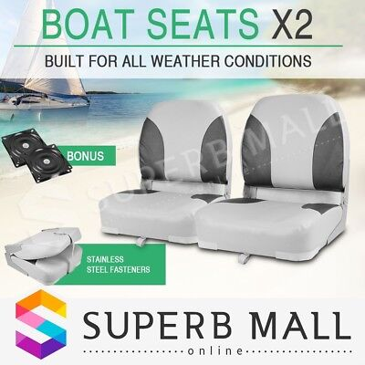 Folding Boat Seats 2 x Weather Resistant Swivel Fisherman Grey/Charoal