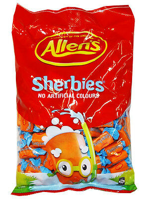 ☆BULK BUY☆ ALLENS SHERBIES 850g - Orange party lollies - Allen's -