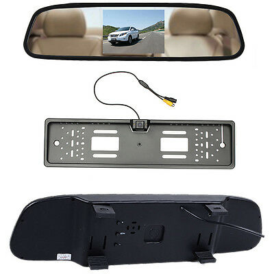 """Number Plate Car Reversing Rear View Camera + 4.3"""" LCD Color Mirror Monitor DVR"""