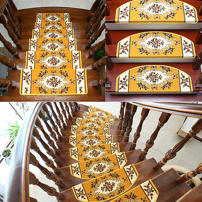 13 Pieces Steps Area Rug Floral Stair Treads Carpet Mats Non-slip Rugs Staircase